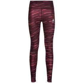Odlo Zeroweight Print Reflective Pantaloni Donna, nero/rosso